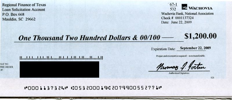 $1,200.00 check from Wachovia bank - what's the catch?